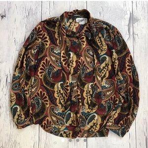 Vintage 70's silky Groovy shirt women's
